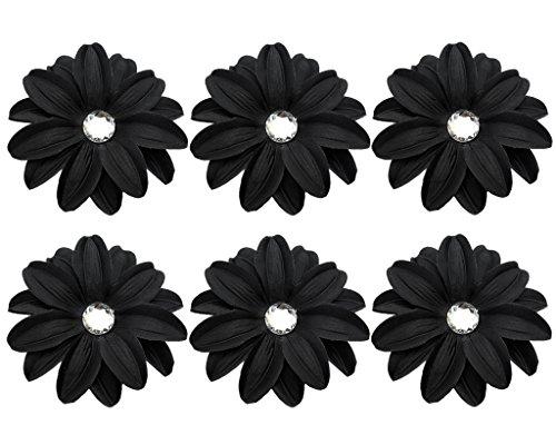 BONAMART 6 Stück Frauen Baby Mädchen Kinder Blumen Haarspangen Set Schleife Haarschmuck Pfingstrose Schwarz