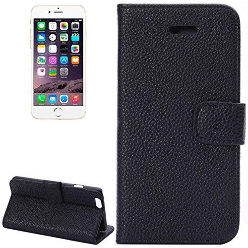 wkae Schutzhülle Fall & Cover Litchi Textur Leder Case mit Kartenfächern und Halterung für iPhone 6Plus & 6splus schwarz