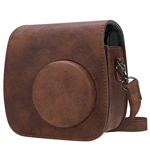 Fintie Tasche für Polaroid PIC-300 / Fujifilm Instax Mini 7s Sofortbildkamera - Premium Kunstleder Schutzhülle Reise Kameratasche Hülle Abdeckung mit abnehmbaren Riemen, Braun (Polaroid Pic-300 Tasche)