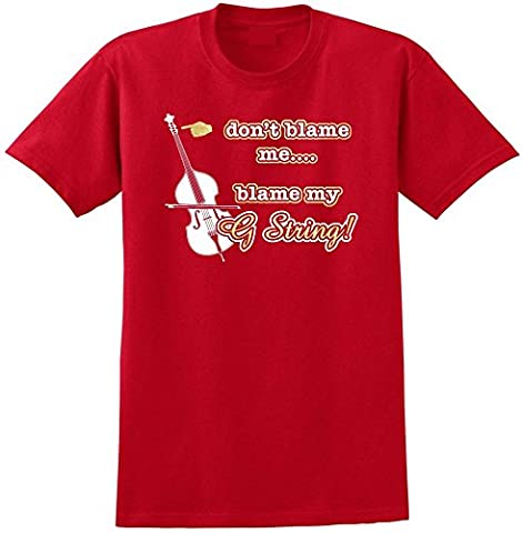 Double Bass Blame My G String - Red Rouge T Shirt Taille 87cm 36in Small MusicaliTee