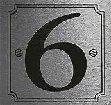 eCobbler - Targhetta adesiva con numero civico 6 su sfondo di colore argento metallizzato