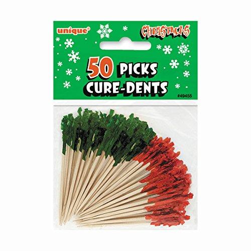 Unique Party Supplies Rot und Grün Rüschen Weihnachten Cocktail Sticks, 50Stück