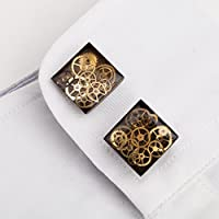 Square Antique Bronze 16mm Steampunk Cufflinks with Cogs and Gears