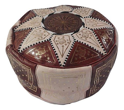 Puf marroquí puf Marruecos de Piel auténtica Oriental étnico Colcha