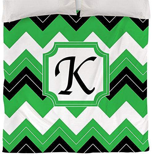 Manuelle holzverarbeiter & Weavers Bettbezug, Queen/Full, Monogramm Buchstabe K, schwarz Chevron (Schwarz Tagesdecke Weiß Chevron Und)