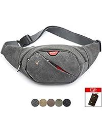 Buyworld Waterproof Canvas Waist Pack Fanny Pack For Men Chest Bag Travel Pillow Phone Wallet Belt Pouch Bum Bag...