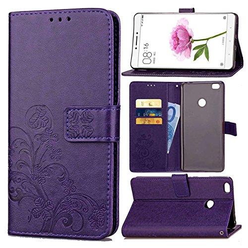 pinlu Funda para Xiaomi Mi MAX Función de Plegado Flip Wallet Case Cover Carcasa Piel PU Billetera Soporte con Trébol de la Suerte Púrpura