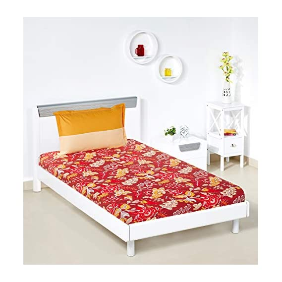 Amazon Brand - Solimo Floral Foliage 144 TC 100% Cotton Single Bedsheet with 1 Pillow Cover, Red