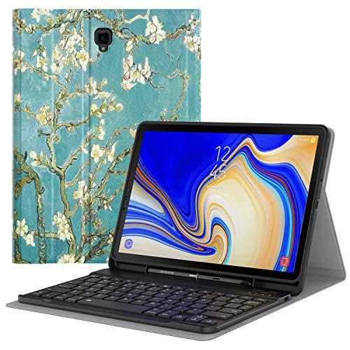 MoKo Case per Tastiera per Samsung Galaxy Tab S4 10.5',Portapenna Incorporato,Pelle TPU,Tastiera Bluetooth QWERTY (Layout Inglese) Custodia con Portapenna per Galaxy Tab S4 10.5', Albicocchi in Fiore