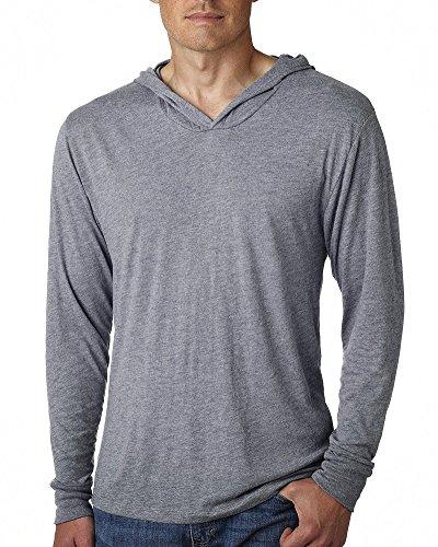BOMOVO Herren Langarm Fashion Freizeit Langarm Shirt Slim Fit mit Kapuze Grau