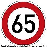 60-69 (km/h) Verkehrszeichen als Geburtstagsschild 60 cm Durchmesser, Aluminium Reflektierend (65)