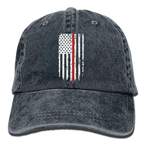 Zhgrong Caps Unisex Baseball Cap Hat Thin Red Line Flag Washed Jean Dad Hat for Women Baseball Cap Basic Corduroy