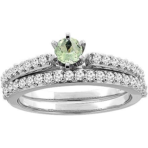 Revoni-Bracciale in oro bianco 14 kt e ametista verde, 2 pezzi, a forma di anello, 4 mm