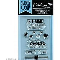 Florilèges Design FDCL114003 Tampon Scrapbooking Clear Mini Je T'Aime d'Amour Beige 10 x 6 x 0,5 cm