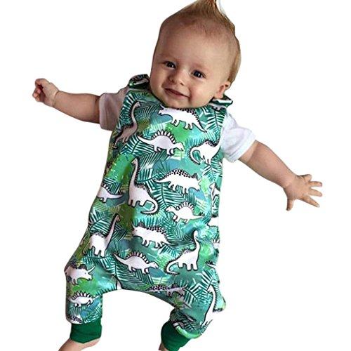 Babykleidung URSING Baby-Strampler Kinder-Strampler Baby Dinosaurier Drucken Ärmellos Strampler Overall Romper Strampelanzug Bodysuit Babybody Bodys Outfits für Jungen und Mädchen (100, Grün) (Baby Mädchen Legging-sätzen)