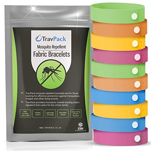 Pulseras antimosquitos de tela TravPack® (en 10 colores diferentes) - ¡MANTÉN ALEJADOS A LOS MOSQUITOS! - Repelente de Insectos Líder en el Mercado, Duración de 250 Horas por Pulsera. Pulseras repelentes de mosquitos - el repelente de mosquitos que realmente funciona.