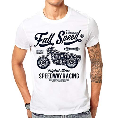 Bedrucktes T-Shirt Full Speed Herren Shirt mit coolem Biker Motiv (M)