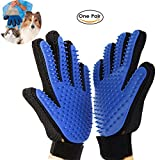 RCRuning-EU gant brosse chien chat, Dog Grooming Glove, Pet Hair Brush for Dog Cat Bathing Cleaning Massaging, Hair Remover Gloves for Large Medium Small Pet Dogs (Bleu, 1 Paire)