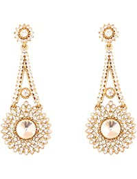 Touchstone Hollywood Glamour White Austrian Crystals Long Chandelier Jewelry Earrings In Antique Gold Tone For...