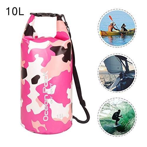 XCHUNA Wasserdicht 10L Dry Bag, Roll Top Dry Compression Sack Hält Gang Dry, Dry Storage Ozean Tasche ideal für Wassersport Reisen Kajak Bootfahren,Pink