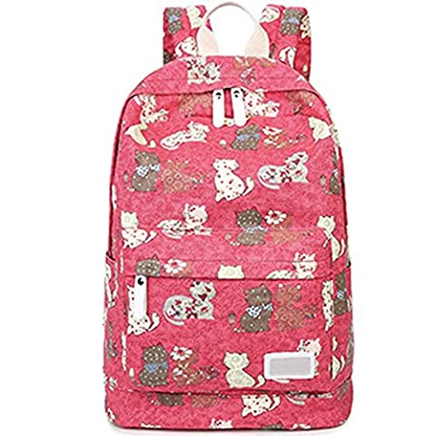 Esther Beauty Casual Kitty Canvas Laptop Bag School Backpack for Teenage Girls Red
