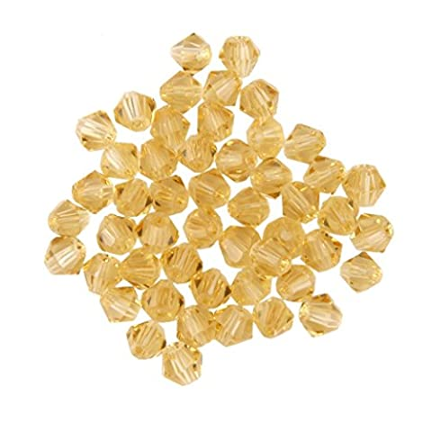 KINGSTONS 4mm Gold Champagne Faceted Bicone Shape Crystal Beads for Jewellery Making Tools (Approx.50pcs)