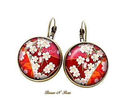 Boucles d'oreilles Fleurs sakura cabochon bronze rouges dormeuses