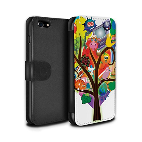 STUFF4 PU-Leder Hülle/Case/Tasche/Cover für Apple iPhone 6+/Plus 5.5 / Pop Art Partei Muster / Modern Lebendig Kollektion Collage Baum