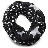 styleBREAKER Sterne Muster Loop Schlauchschal/große und kleine Sterne 01016057 (Schwarz)