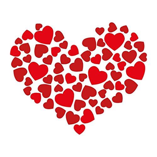 Vinyl Herz Dekor Aufkleber - Groß 67x55cm Kunst Aufkleber Wanddekoration für das Schlafzimmer - Wandtattoo der Premium Qualität für Hochzeit, Geburtstag, Jubiläum oder Party - Zeigen Sie Ihre Liebe und (Geschichte Für Zombie Ideen Eine)