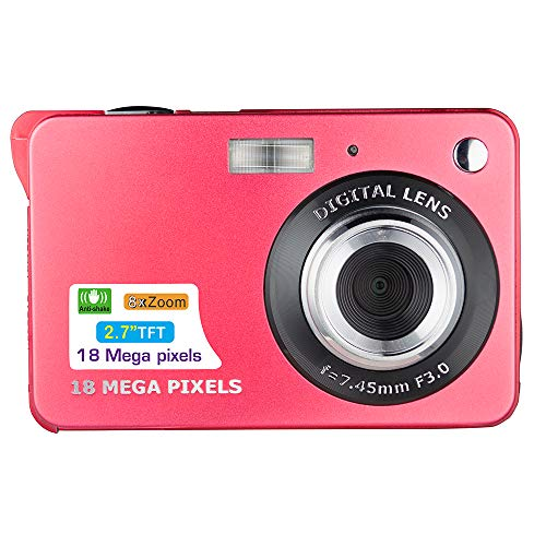 Heypex LS23 18 Megapixel Digital Camera Flash Light/Portrait Mode / 3 Inch Display / 8X Zoom with Camera Case,32Gb Memory Card & Wrist Strap (RED)