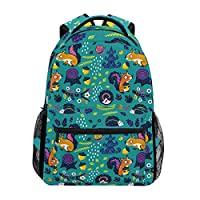 Cartoon Crazy Squirrels Acorn Pattern Backpack Waterproof School Shoulder Bag Gym Backpack Hedgehog Tree Stump Snail Leaf Flower Green Laptop Bag Outdoor Travel Bag For Kids Boys Girls Women Men