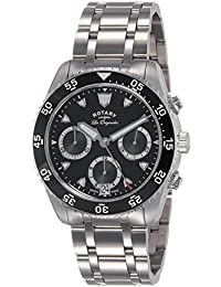 Rotary Men's Quartz Watch with Black Dial Chronograph Display and Silver Stainless Steel Bracelet GB90170/04