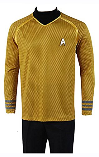 Trek Für Erwachsene Uniform Star Kostüm - FUMAN Uniform Captain Kirk Shirt Cosplay Kostüm Gelb XL