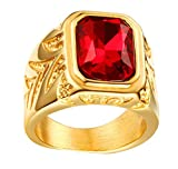 HIJONES Hombres Acero Inoxidable 15.5MM Rojo Diamante de imitación CZ Anillos Oro Chapado Talla 19