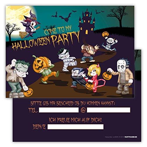Einladungskarten lustig schaurig 12er Set Kindergeburtstag Party Halloween Party Jungen Mädchen Kinder Erwachsene Geburtstagseinladungen Karten Monster (Jumpsuit Kostüm Box)