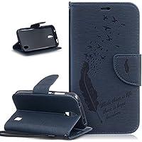 Huawei Y625Funda, Huawei Y625Funda, ikasus, diseño de pájaros pluma cartas patrón piel sintética plegable tipo cartera, funda de piel tipo cartera con función atril para tarjetas de crédito ID soportes Case Cover para Huawei Y625