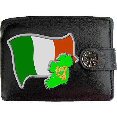Irland Flagge KLASSEK Herren Geldbörse Portemonnaie Brieftasche Irisch Wappen aus echtem Leder schwarz Irish Geschenk Präsent Mit Metallbox (Irland Wappen)