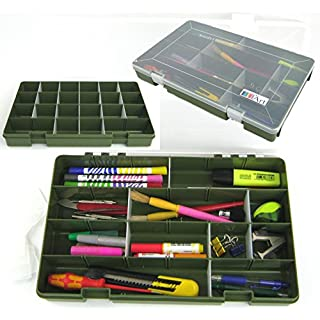 Ace Arts Adjustable 22 Compartment Tray Artists Craft Box. Organise and Store Art Materials, Media, Brushes, Pens, Pencils, Beads, Jewellery, Tools and Small Parts.