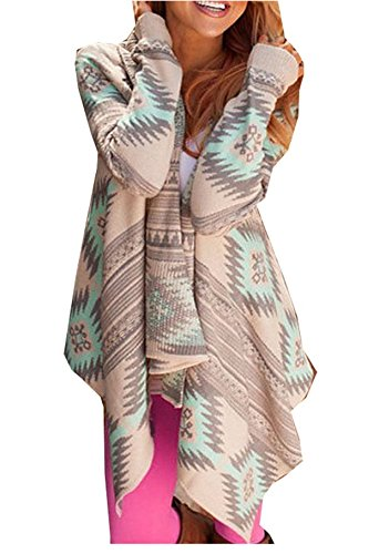 Damen Lässig Cardigan Unregelmäßig Strickjacken Lang Abschnitte Mantel Geometrische Druck Kimono Ponchos & Capes Strick-Pullover Outwear Tops Sweatshirt (Windbreaker 80er Jacken Jahre)
