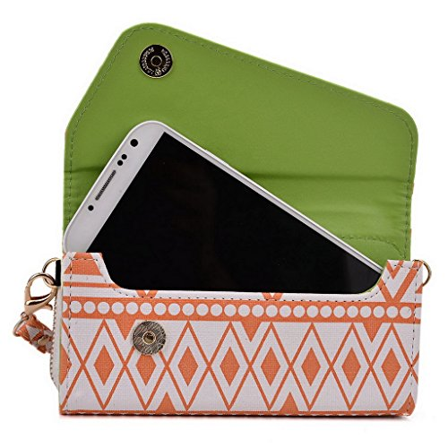 Kroo Tribal Urban Style Housse cas Wall Let Embrayage S'adapte Sony Xperia E4 White with Mint Blue White and Orange