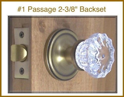 The Very Best Fluted Depression Crystal Door Knob Set. A Duplicate of the Early American Classic, Now Custom Made for Modern-drilled Doors. The Very Finest Time-tested Hardware with Many Exclusive Enhancements (Antique Brass) (Passage 2-3/8) by Rousso's Reproduction Fluted Crystal