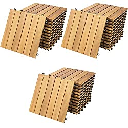 33x Deuba Wooden Decking Tiles 3m³ Interlocking Terrace Garden Balcony Patio Hot Tub 30 x 30 cm (Acacia Classic)