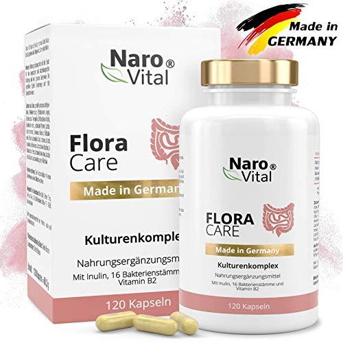 NaroVital® Kulturen-Komplex mit 16 Bakterienstämme, 18 Mrd kbE, Inulin & Vitamin B2 - Hochdosiert, Für Darm-Flora, Bifidobakterium & Lactobacillus, 120 vegane Kapseln, Darm-Bakterien für Darmsanierung