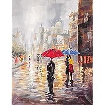 Innova FP02439 - Cuadro en lienzo (pintado a mano, 70 x 90 cm), diseño de lluvia primaveral