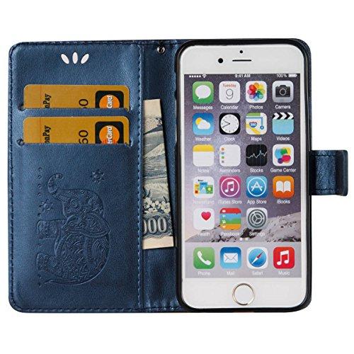 Coque iPhone 6s, Housse iPhone 6, Lifetrut [Relief Printing] Premium PU Leather Portefeuille Flip Folio Case Cover pour iPhone 6s 6 [Violet] E202-Marine