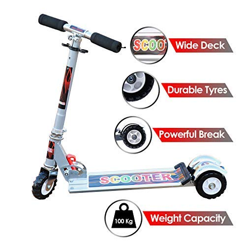 Zest 4 Toyz Kids Skate Scooter with 3 Wheels and 3 Position Adjustable Height (Silver)