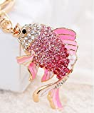 Liroyal Crystal Rhinestone Tortoise Keyring Charm Pendant Purse Bag Key Ring Chain Gift