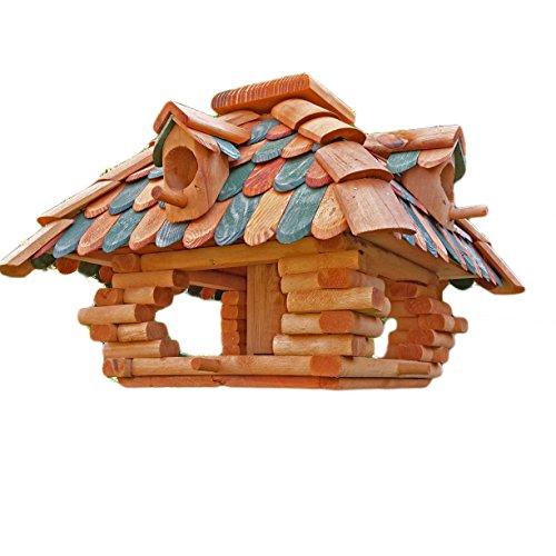 Desing Vogelhaus Handarbeit Vogelhäuschen Futterhäuser Futterhaus Nistkasten imprägniert / lasiert (Dunkelgrün / Braun)