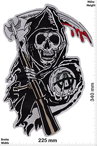 Patches - Sons of Anarchy - 34 cm - BIGPATCH - Rocker - Biker - Vest - Iron on Patch - Applique embroidery Écusson brodé Costume Cadeau- Give Away